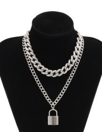 Collar Con Colgante De Aleación En Forma De Candado De Cadena Cubana De Diamantes