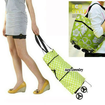 Printed Green Multifunction Flower Pattern Fold Design Cloth Handbags