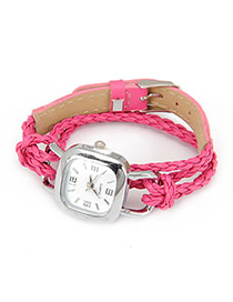 Profession Plum Red Lock Shape Weave Alloy Ladies Watches