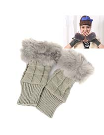 Packaging Gray Thicken Squares Fingerless Knitting Wool Fashion Gloves
