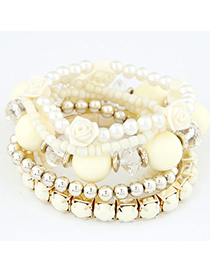 Wholesale Beige Flower Pearl Decorated Multilayer Elastic Design