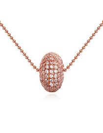 Ethnic white & rose gold diamond decorated round shape design zircon Crystal Necklaces