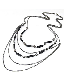 Fine Gun Black Multilayer Simple Design Alloy Chains