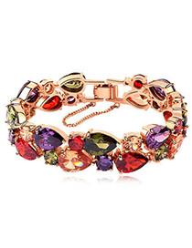 Plus Size Multicolor Diamond Decorated Waterdrop Shape Design Zircon Fashion Bracelets