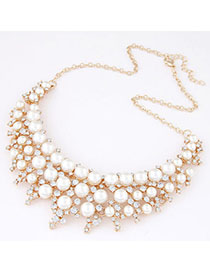 Hunting White Pearl Decorated Fan Shape Design
