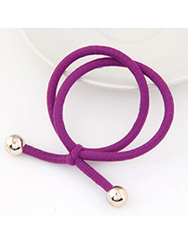 Casual Purple Beads Decorated Double Layer Design Rubber Band Hair Band Hair Hoop