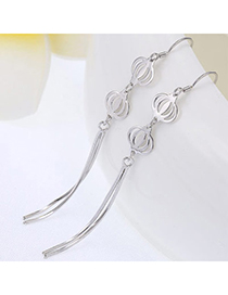 Joker Silver Color Lantern Shape Decorated Tassel Design Cuprum Fashion Earrings