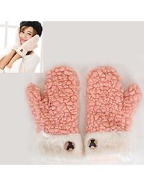 Mustard Pink Bear Pattern Simple Design Wool Full Finger Gloves