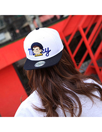 Lovely Blue Embroideried Boy Pattern Simple Design Canvas Baseball Caps