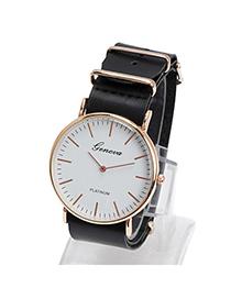 Elegant Black Letter Pattern Simple Design Alloy Ladies Watches
