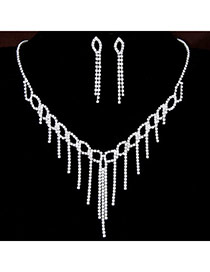 Bling White Diamond Decorated Tassel Design Alloy Jewelry Sets