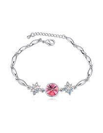 Luxurious Tanzanite Diamond Decorated Simple Design Alloy Crystal Bracelets