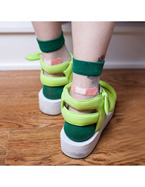 Boutique Green Bandage Pattern Glass Fiber Design Combed Cotton Fashion Socks
