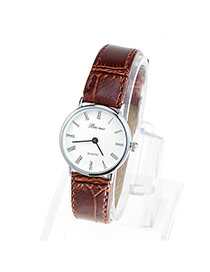 Couple Models Brown & Silver Color Leather Thin Strap Simple Design