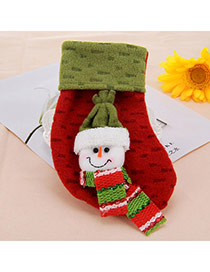 Personalized Green Snowman Pattern Decorated Socks Shape Design