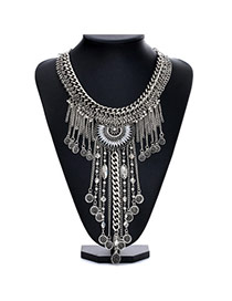Fashion Silver Color Tassel Decorated Multilayer Design