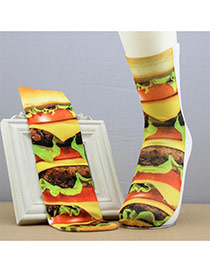 Retro Multicolor Hamburg Pattern Decorated 3d Effect Design  Spandex Fashion Socks