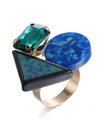 Personality Green Geometry Gemstone Decorated Simple Design Alloy Fashion Rings
