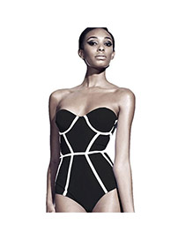 Trendy Black Tripe Pattern Decorated One-piece Design