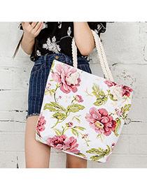 Fashion White Big Flower Pattern Decorated Simple Design Beach Bag