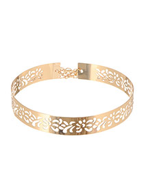 Elegant Gold Color Hollow Out Flower Decorated Simple Design Alloy Wide belts