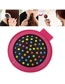 Fashion Plum Red Color Matching Decorated Round Shape Folding Comb