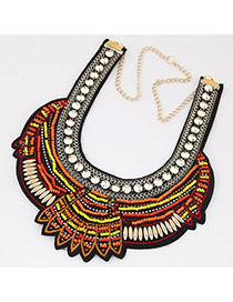 Bohemia Orange Beads Weaving Geometric Shape Decorated Collar Necklace