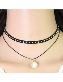 Temperament Black Pearl Pendant Decorated Double Layer Necklace
