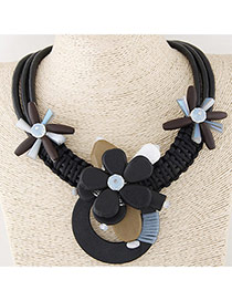 Fashion Brown Flower Decorated Multi-layer Simple Collar Necklace