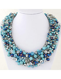 Personality Multi-color Bead Decorated Hand-woven Multilayer Design Necklace