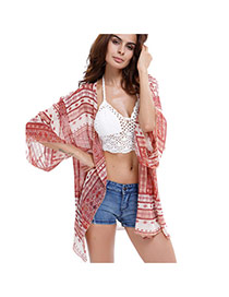Sexy Pink Big Leaf Shape Pattern Decorated Three Quarter Sleeve Losse Bikini Cover Up Smock