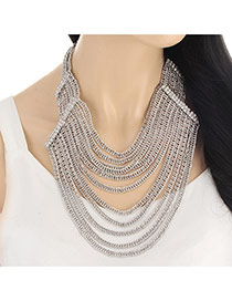 Exaggerated Silver Color Multilayer Tassel Decorated Collar Necklace