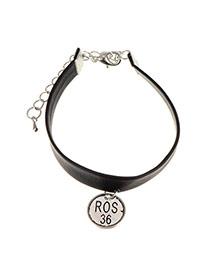Vintage Silver Color Round Shape Pendant Decorated Wide Choker Necklace
