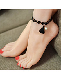 Vintage Black Pearl & Tassel Pendant Decorated Double Layer Anklet