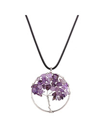 Vintage Purple Tree Shape Pendant Decorated Short Chain Necklace
