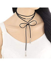 Trendy Black Leaf Pendant Decorated Multi-layer Simple Necklace