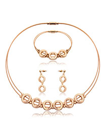 Fashion Gold Color Hollow Out Round Shape Decorated Pure Color Jewelry Sets (3pcs)