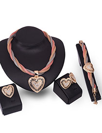 Fashion Gold Color Diamond Decorated Hollow Out Heart Shape Jewelry Sets (4pcs)