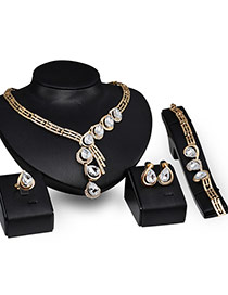 Fashion Gold Color Oval Shape Diamond Decorated Short Chain Jewelry Sets
