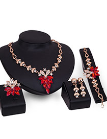Luxury Red Flower Shape Pendant Decorated Short Chain Jewelry Sets