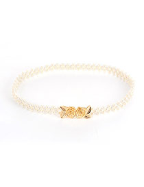 Elegant Gold Color Pearl &rase Shape Decorated Simple Belt