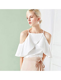 Elegant White Strapless Decorated Pure Color Pleated Tank Tops