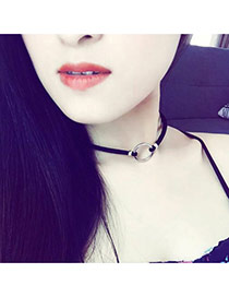 Elegant Silver Color Metal Round Shape Decorated Simple Choker
