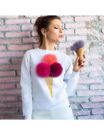 Cute Red Fuzzy Ball&ice Cream Shape Decorated Long Sleeve Coat