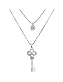 Fashion Silver Color Key Shape Pendant Decorated Doubkle Layer Necklace