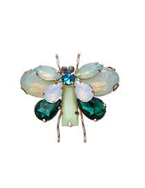 Retro Green Gemstone Decorated Butterfly Design Simple Brooch