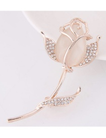 Fashion Beige Pearls&diamond Decorated Tulip Shape Simple Brooch